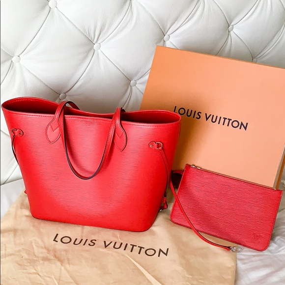 NEW Louis Vuitton Epi Leather Neverfull Coquelicot